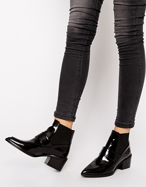 Whistles Whistles Riley Pointed Loafer Mid Heeled Ankle Boots At Asos