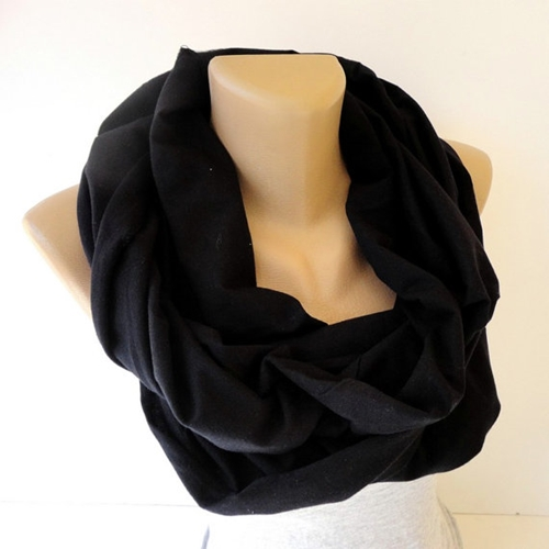 Black Cotton Infinity Scarf Women Men Scarves By Senoaccessory
