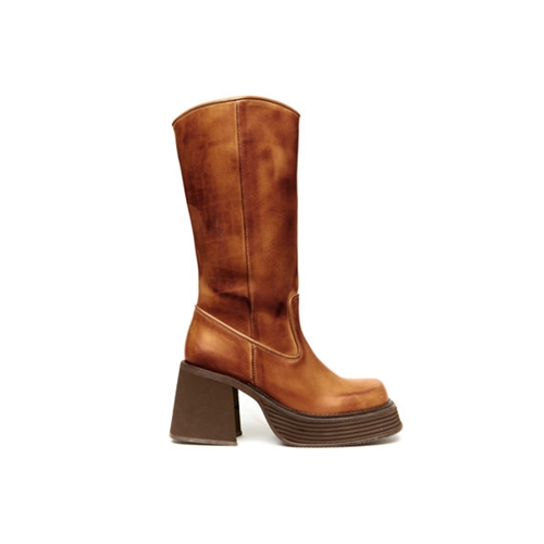 El Paso 90S Brown Leather Platform Ranch Boot By Americandeadstock