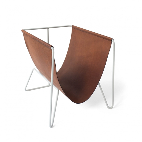 Magazine Rack In Pale Gray With Saddle Tan Horween Leather Made In Usa