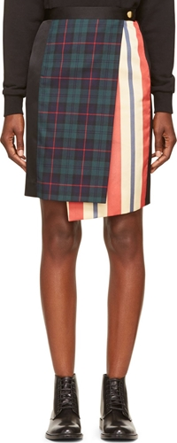 Undercover Black Multi Plaid Skirt Ssense