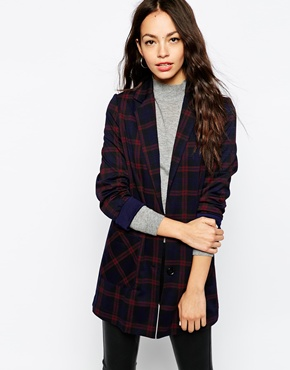 New Look New Look Check Print Boyfriend At Asos
