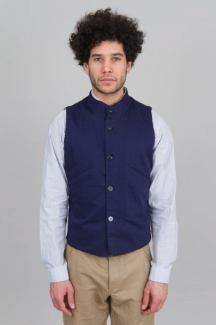 Taped Waistcoat Purple Blue Herringbone Sale Outerwear