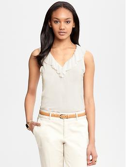 Pleated v neck tank Banana Republic