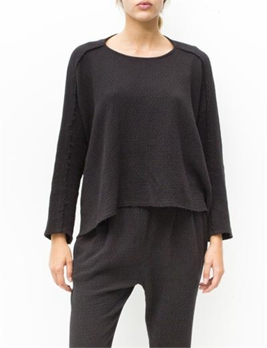 Black Crane High Neck Top Black