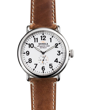 Shinola 47Mm Runwell Men's Watch White Brown