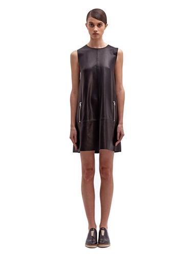Acne Studios Women's Leather Shift Zip Dress Ln Cc