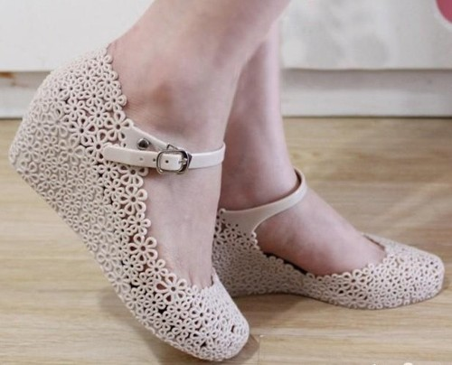 Lady Hollow Out Soft Jelly Rubber Floral Mary Jane Round Toe Wedge Sandal Shoes eBay