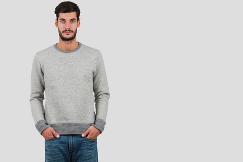 Drapeau Noir Sweat Dobby Grey