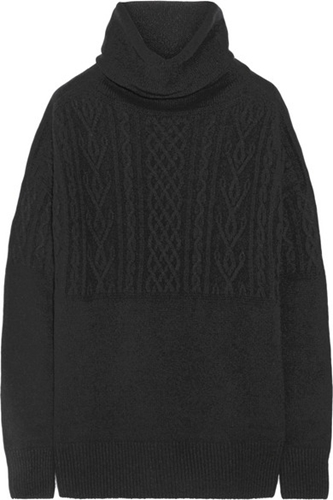 The Row Carrington Cable Knit Cashmere And Silk Blend Turtleneck Sweater Net A Porter.Com
