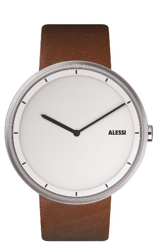 Amazon com Alessi Unisex AL13001 Out Time Brown Leather Strap Watch Watches