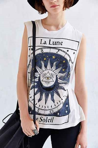 Title Unknown La Lune Foiled Muscle Tee Urban Outfitters
