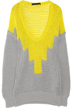Alexander Wang Hand knitted stretch cotton open knit sweater NET A PORTER COM