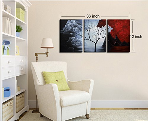 Amazon.Com Santin Art The Cloud Tree Modern Abstract Painting High Q. Wall Decor Landscape Paintings On Canvas 12X16inch 3Pcs Set Stretched And Framed Ready To Hang Wall Art For Bedroom