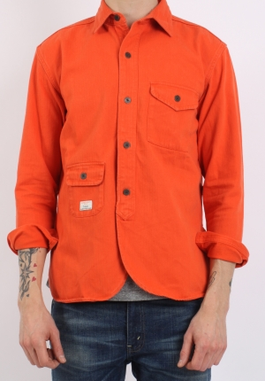Han Army Shirt Orange Herringbone Pede Stoffer webshop