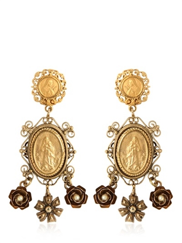 Dolce Gabbana Gold Plated Pendant Earrings Luisaviaroma Luxury Shopping Worldwide Shipping Florence