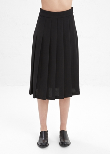 Totokaelo Nomia Black Pebble Midi Pleated Skirt