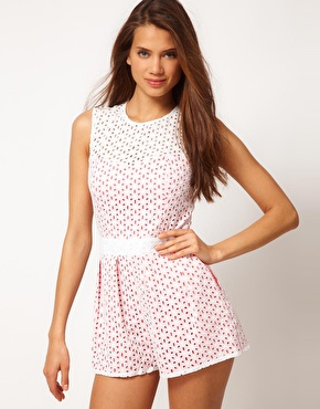 ASOS ASOS Playsuit In Broderie Anglaise at ASOS