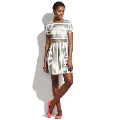 Stucco Stripe Songbird Dress waist defined Women s DRESSES Madewell