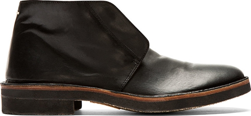 Maison Martin Margiela Black Leather Desert Boots Ssense