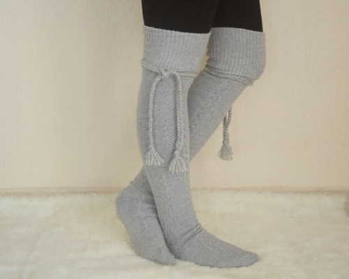Gray Over The Knee Slouch Socks Leg Warmers Tassel Socks By Bstyle