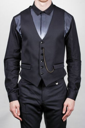 Lords And Fools Satin Trim Waistcoat In Navy Autograph Menswear