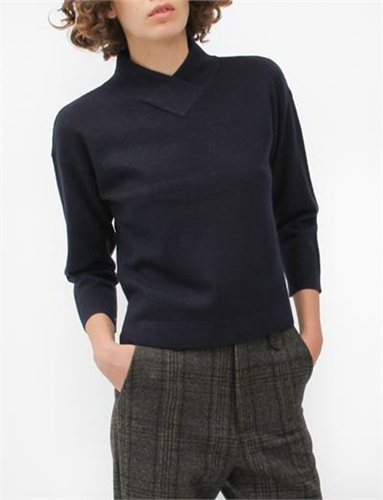 Creatures Of Comfort Mock V Neck Sweater Boiled Wool Navy
