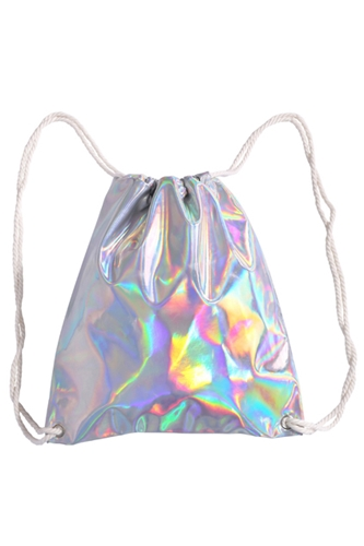 Romwe Laser Silvery Drawstring Backpack The Latest Street Fashion