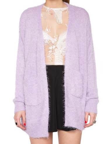 Lilac Fuzzy Cardigan Pastel Sweater Cute Fluffy Knit 42