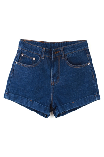 Romwe Romwe High Waisted Rolled Loose Solid Blue Denim Shorts The Latest Street Fashion