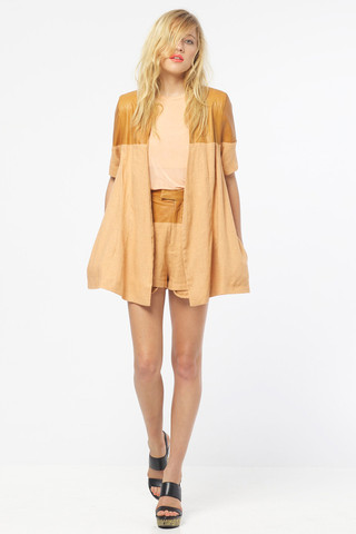 GOOD AS GOLD SHAKUHACHI swing blazer apricot tan