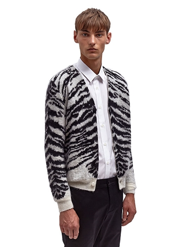 Saint Laurent Mens Jacquard Tiger Cardigan