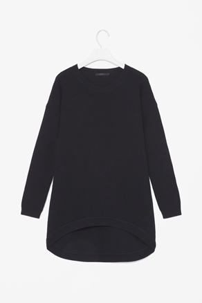 Curved hem wool jumper