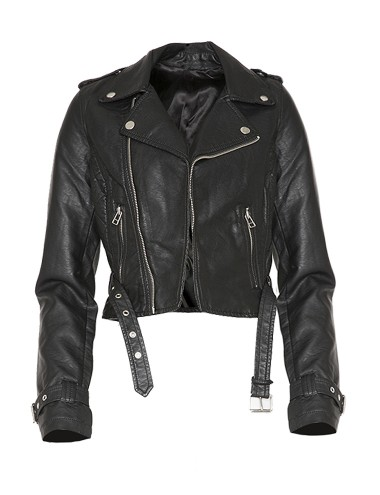 Black Crop Biker Jacket Moto Crop Jacket 88
