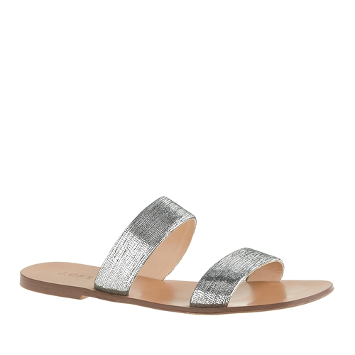 Crew Malta Crackled Metallic Sandals Metallic Silver