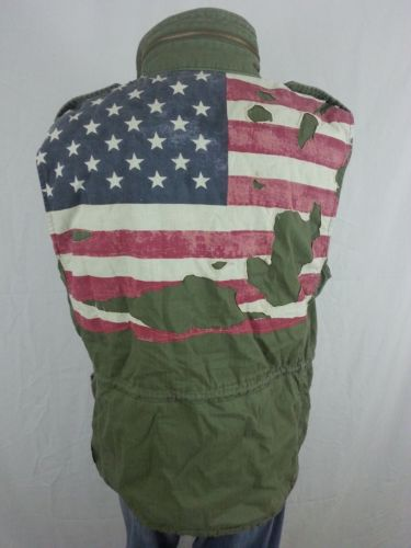 175 Ralph Lauren Men 039 S Denim And Supply Distressed Flag Army Vest Large L Ebay