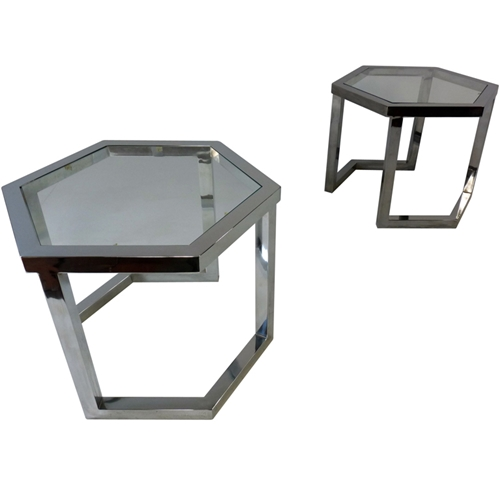 1STDIBS COM Oliver Modern Milo Baughman Pair Of Chrome And Glass Tables