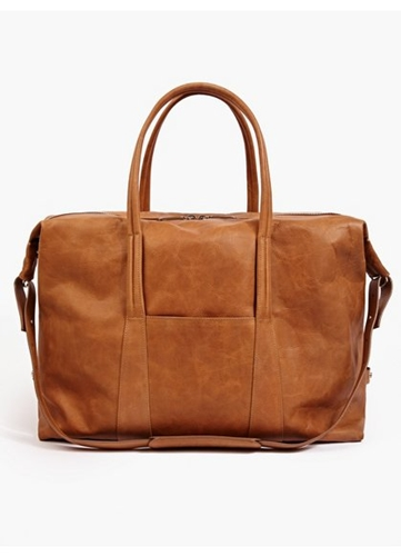 Men's Brown Vintage Effect Oversized Leather Holdall