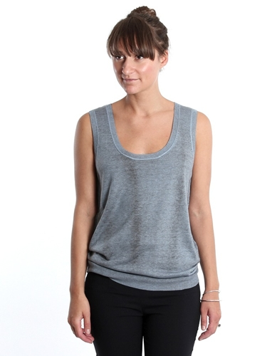 Jil Sander Navy Luxe Tank Dyed Silk Cashmere Nitty Gritty Store