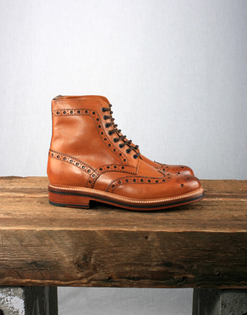 Grenson Fred Brogue Boot Tan AW12 Grenson Fred Boot with Goodyear Welted Sole in Tan Calf Leather