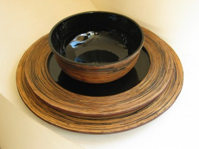 Lacquer server plate natural bamboo rim from Meelay Made by Meelay The Travelling Souk Ltd