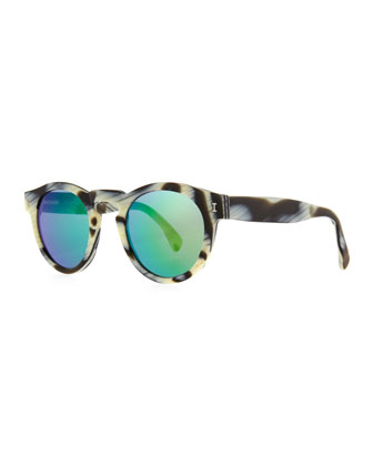 Illesteva Leonard Round Horn Pattern Sunglasses With Mirror Lens