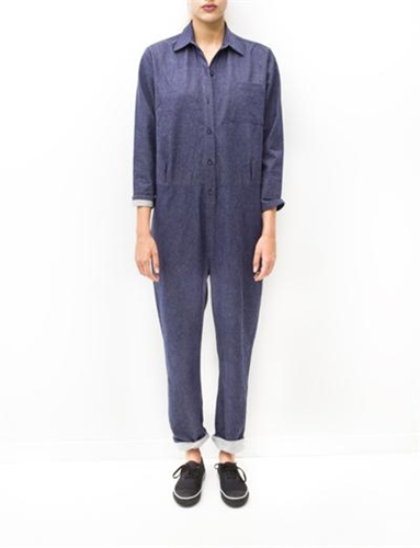 Baserange Shirt Jumpsuit Blue Denim