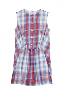 Cinched Waist Check Dress By Thakoon Addition