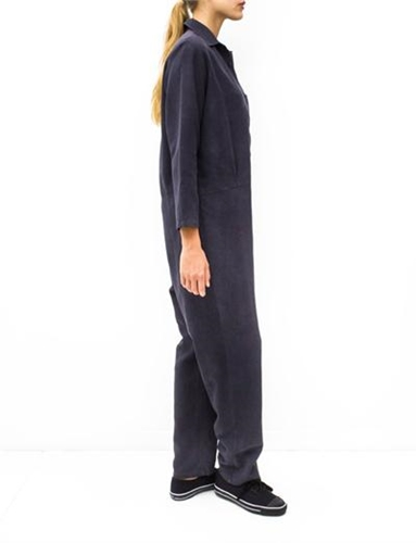Baserange Shirt Jumpsuit Black Silk Twill