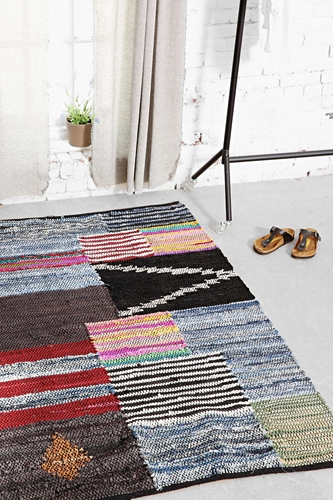 4040 Locust Leather Patch Rug Urban Outfitters