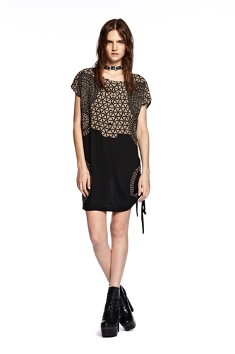 GOOD AS GOLD something else texture tee dress black