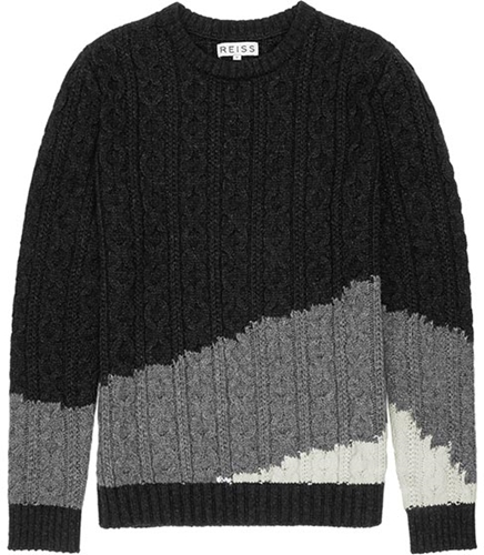 Rivers Grey Tonal Cable Knit Jumper Reiss