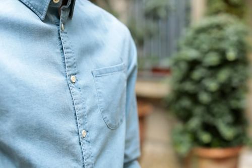 Levi's Made Crafted One Pocket Shirt Pale Blue Chambray