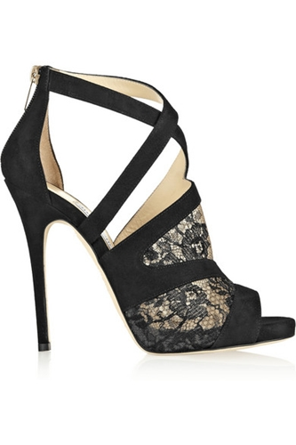 Jimmy Choo Vantage Suede And Lace Sandals Net A Porter.Com